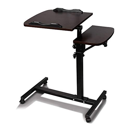 Anferstore Adjustable Turnlift Sit-Stand Mobile Laptop Desk Cart with Side Table (Dark Walnut) by Anferstore