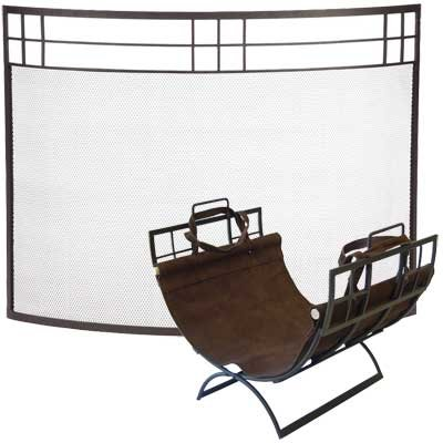 Achla Arts and Crafts Curved Fireplace Screen and Log Holder