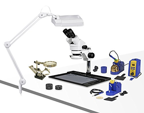 Parco Scientific PA-10EZ-IFR07-SD3 Binocular Stereo Zoom 7x-45x Microscope with Hakko Single Port Solder Station FX-951 and Micro-Soldering Kit FM-2032, Magnifier Lamp, Cell Phone Repair ()