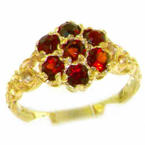 Natural 14k Gold Ring Garnet (LetsBuyGold 14k Yellow Gold Natural Garnet Vintage Anniversary Ring - Size 8.5)