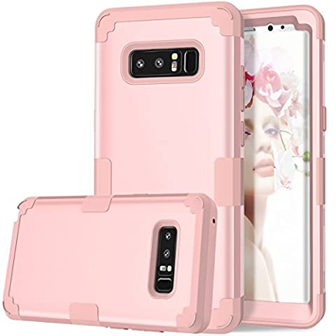 Galaxy Note 8 Case, Asstar 3 In 1 [Soft silicone+ Hard PC] Full Body Shockproof Impact Resistant Perfect Fit Anti Scratch Excellent Protective Cover for Samsung Galaxy Note 8 2017 (Rose (Otterbox Privacy Screen Iphone 5)