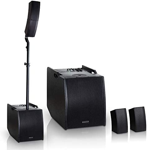 HAISER HSR 212 S 400 W RMS Aktiv Portable Array System | Compact Array Line System | PA System | Säulensystem | Subwoofer | Bluetooth | USB | SD