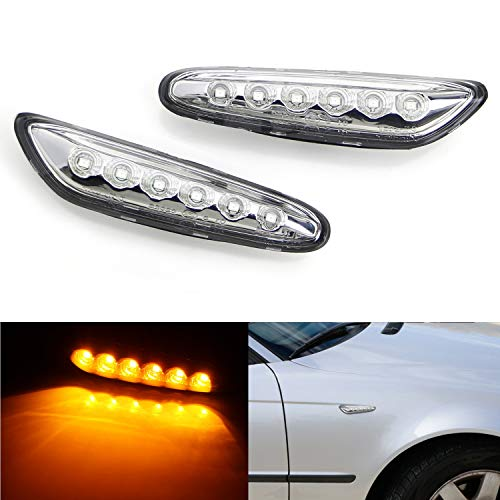 iJDMTOY Euro Clear Lens Amber Full LED Front Side Marker Light Kit For BMW 1 3 5 Series, etc, Replace OEM Amber/Clear Sidemarker Lamps ()