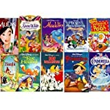 walt disney's 10 pack:Mulan (Disney's Masterpiece), Snow White and the Seven Dwarfs (Walt Disney's Masterpiece) , Aladdin (A Walt Disney Classic), Mickey's Magical Christmas - Snowed in at the House of Mouse , Winnie the Pooh and Christmas Too, Bambi , The Fox and the Hound (A Walt Disney Classic) , 101 Dalmatians (Walt Disney's Classic) , Cinderella (Walt Disney's Masterpiece), Pinocchio (Walt Disney's Masterpiece)