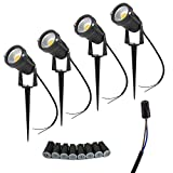 JESLED 5W LED Landscape Light DC/AC12V Waterproof Garden Pathway Lights Warm White Walls Trees Flags Outdoor Spotlights with Spike Stand, Waterproof Connector (4 Pack)