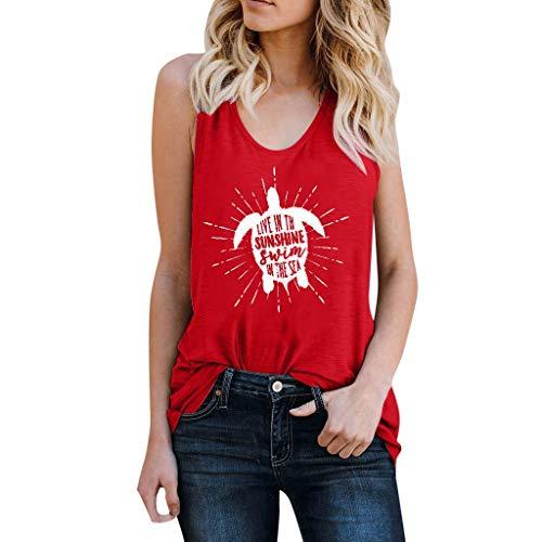 Euone Summer Tops, Women Print Vest Sleeveless Loose Crop Tops Tank Tops Blouse Tops ()