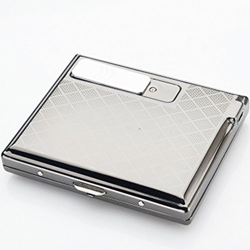 Unishow ® Metal Cigarette Case with USB lighter Electronic Flameless Windproof Lighters for Men Smooking Tools Accessories (1 Cigarette Metal Case Lighter)