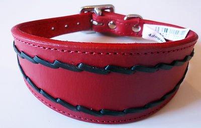 25, 4–30, 5cm Rouge/Noir ovale Motif Lévrier Whippet en cuir collier pour lévrier 4-30 4doggies