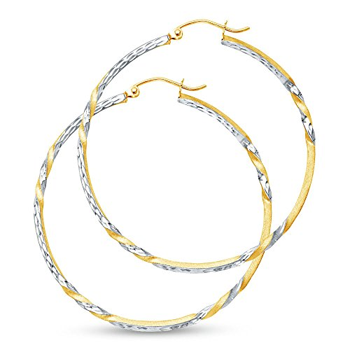 (14k Two Tone White and Yellow Gold Diamond-Cut 2mm Twist Hoop Earrings (35mm Diameter))