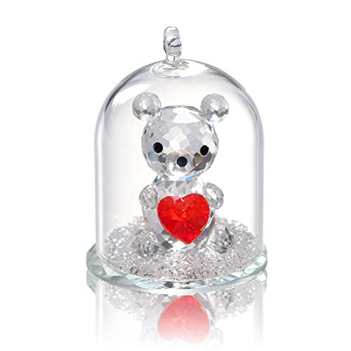 H&D Crystal Figurine Collection Ornament Statue Animal Collectible (Clear-Bear) -