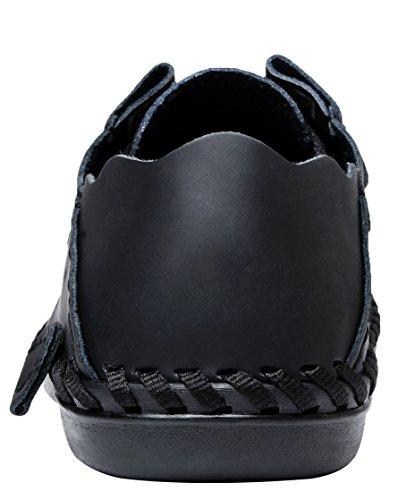 LOUECHY Männer Achikle Breite Freizeitschuhe Wohnungen Wanderschuhe Weiche Leder Loafers Lace-Up Fahr Schuhe Schwarz-Punsch