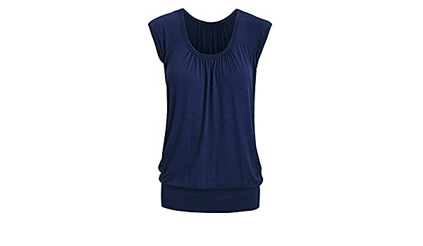 Kinlene Camisetas Tops Blusas Women Summer Casual Round Neck Solid Short Sleeve T-Shirt Top Blouse (Azul, XL): Amazon.es: Ropa y accesorios