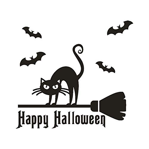 Chouron Ferocious Black Cat Wallpaper, Happy Halloween Scary Bone Wall Sticker Window Home Decoration Decal Decor (Black) ()