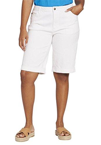 Women's Plus Size Stretch Jean Short White,16 W