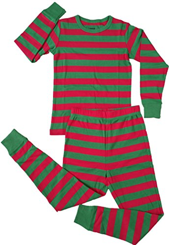 2 Piece Striped Pajama Red & Green 10 Years