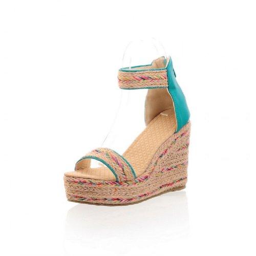 Charm Foot Bohemia Hecho A Mano Hemp Weave Mujeres Plataforma Cuña Sandalias De Punta Abierta Azul