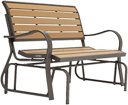 Lifetime 60055 Outdoor Glider Bench, 4 , Walnut Brown