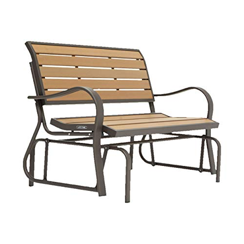 Lifetime 60055 Outdoor Glider Bench, 4', Walnut Brown (Bench Outdoor Steel)