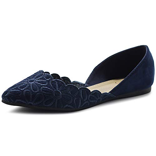 Ollio Women's Shoes Faux Suede Comfort Floral Embroidery Pointed Toe Ballet Flats F91 (7.5 B(M) US, Navy)