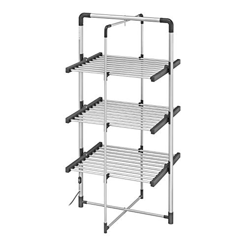 BLACK+DECKER BXAR0007GB 3-Tier Heated Clothes Airer, Cool Grey, 21m Drying Space, 300W, Aluminium 140cm x 73cm x 68cm