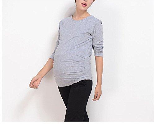 Colore Premaman Grey Manica Fonlonlon Plus shirt Collo Maternity Size Rotondo Puro T Lunga axxRqHnfz