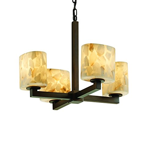 - Justice Design Group Alabaster Rocks! 4-Light Chandelier - Dark Bronze Finish with Shaved Alabaster Rocks Cast Into Resin Shade