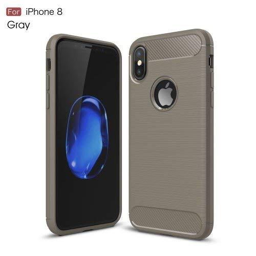 iPhone 10 / iPhone X用ケースつや消しカーボンエフェクト強化ソフトプラスチックグレー   B075LP6LSQ