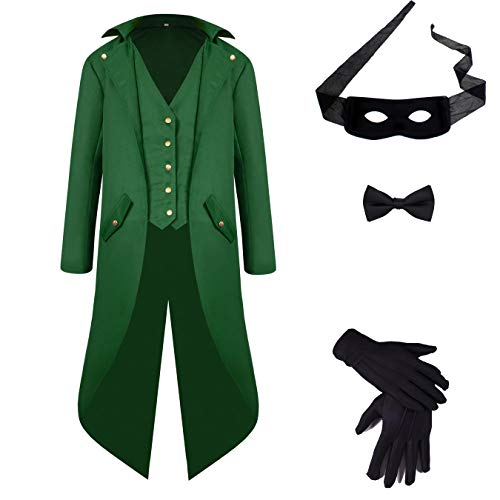 (Men's Steampunk Vintage Tailcoat Jacket Gothic Victorian Medieval Halloween Coat with Costume Set)