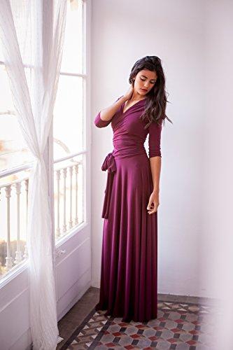 Bridesmaid long sleeve dress, burgundy maxi dress, bridesmaid dress, marsala bridesmaid dress, burgundy dress, long sleeve evening dress by Mimètik Bcn