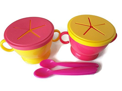Snack Pod, Snack Cup with Lid, Great As On-the-Go Snack & Cereal Dispenser, No Spill. 2-Pack Includes Matching Spoon (Pink/Yellow)