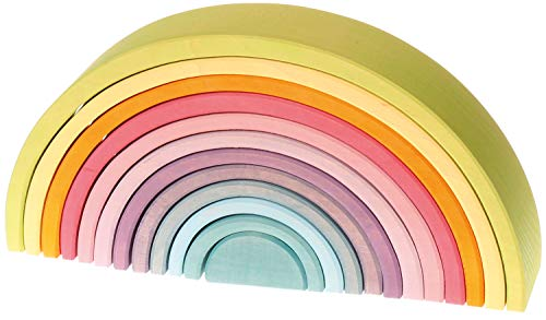 12 Piece Pastel - Extra Large 12-Piece Rainbow Tunnel Stacker Toy in Pastel Colors - Wooden Nesting Puzzle for Creative Sculpture Building
