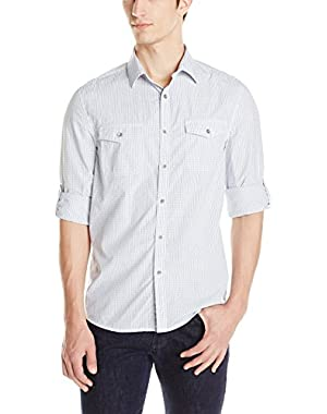 Kenneth Cole Men's Double Pocket Mini Check Shirt!