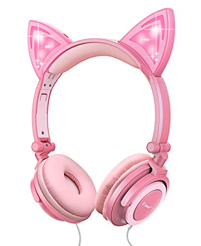Esonstyle Kids Headphones Over Ear with LED Glowing Cat Ears,Safe Wired Kids Headsets 85dB Volume Limited, Food Grade Silicone, 3.5mm Aux Jack, Cat-Inspired Pink Headphones for Girls (Best Safe Headphones With Volumes)