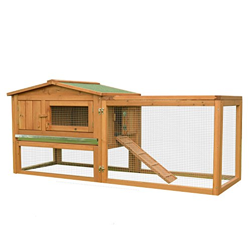 "41abZEnm9YL - Pawhut 62"" Outdoor Guinea Pig Pet House/Rabbit Hutch Habitat with Run"