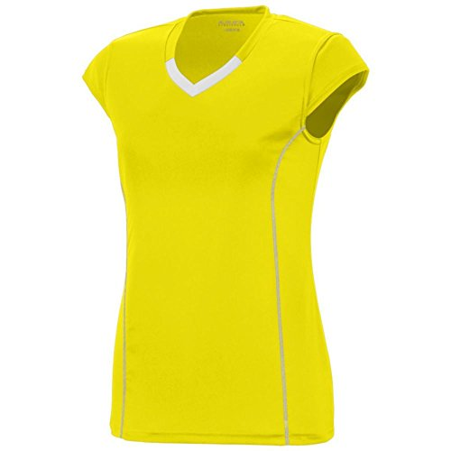 Augusta Activewear Girls Blash Jersey, Power Yellow/White, Medium