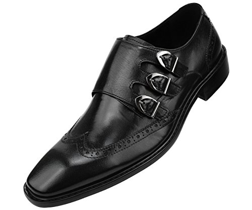 uine Two-Tone and Solid Leather Dress Shoes, Comfortable Triple Monk Strap Wingtip Oxfords ()