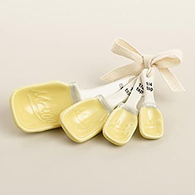 Mason Jar Measuring Spoons Ceramic - Yellow
