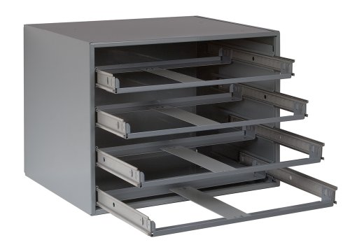 Durham 307-95 Gray Cold Rolled Steel Easy Glide Slide Rack for 4 Small Metal Compartment Boxes, 15-1/4