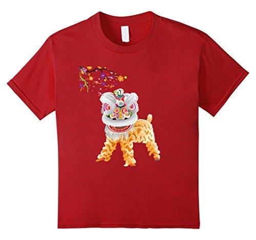 Kids Beautiful Chinese Lion Dance Shirt Novelty Gift Idea 6 Cranberry