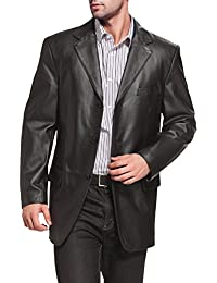 Men's Liam Three-Button Leather Blazer