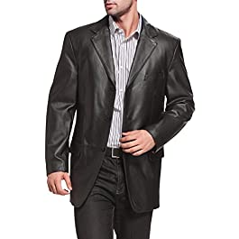 BGSD Men's Liam 3-Button Lambskin Leather Blazer