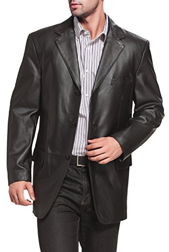 (BGSD Men's Liam 3-Button Lambskin Leather Blazer,Black,X-Large)
