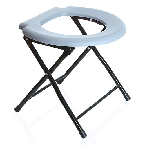 Odthelda Folding Commode Portable Toilet Seat Potty Commode Chair Steel Camping Toilet Seat by Odthelda (Image #7)