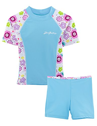 SunBusters Girls Fitted Rash Set(UPF 50+), Mallowberry, 4/5 - Bathing Fitted Suits
