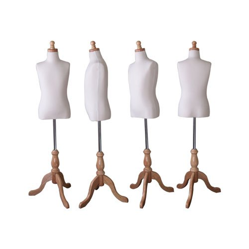 Kids 7-8 Years Child Jersey Mannequin Dress Form - Boy or Girl - White with Natural Tripod Base by EZ-Mannequins (Image #2)
