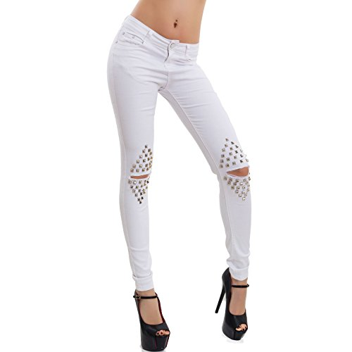 Borchie Elasticizzati Strappi Donna W0879 Sexy Bianco Skinny Toocool Nuovi 1 Jeans Pantaloni wYfqIF4