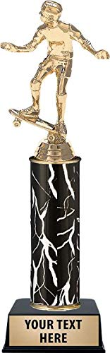 Crown Awards Skateboard Rider Trophies, Personalized Black Lightning Skateboard Rider Trophy, Custom Engraving Included