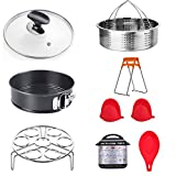 ULEE 9-Piece Accessories Compatible with Instant Pot 6 Qt - Including Steamer Basket, Glass Lid, Springform Pan, Egg Rack, Oven Mitts, Magnetic Cheat Sheet, Spoon Rest and Dish Clip