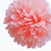 Dress My Cupcake DMC7311M 5-Inch Coral Peach Tissue Paper Pom Poms, Beach Party Decorations/Spring Party Supplies, Set of 8