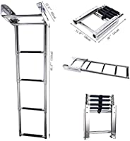 Hoffen Stainless Steel Telescoping 4 Step Ladder Under Platform Slide Mount Ladder Telescoping Extendable Ladd
